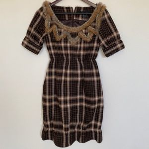 MARC JACOBS fur dress plaid brown wool